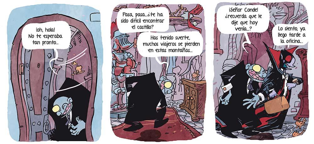 El mayordomo del castillo del Conde Dracula te da la bienvenida a el nuevo cómic de Vampi