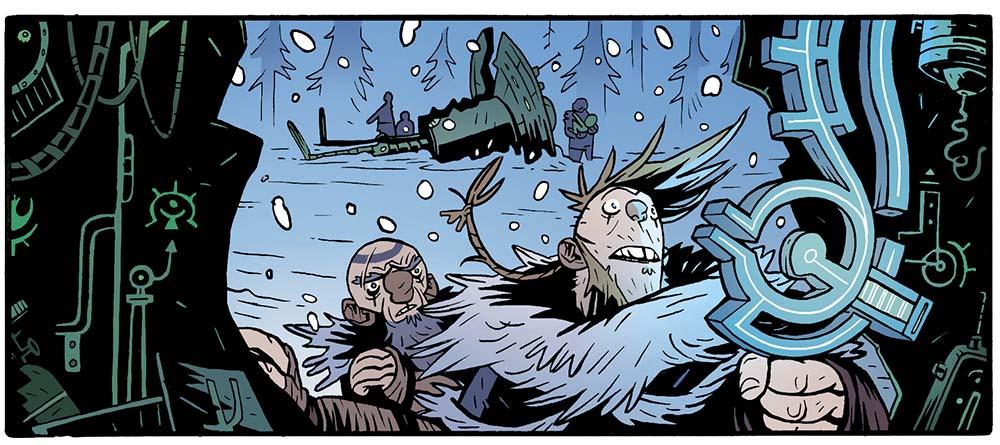 Hrolf encuentra una espada de energia en el cómic EL REY ARAÑA de GRAFITO EDITORIAL.