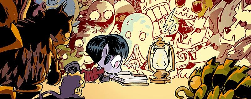 VAMPI rodeada de monstruos disfrutando de un buen libro de aventuras