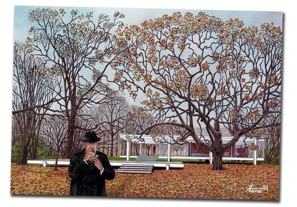 Lámina exclusíva de regalo con el cómic MIES sobre la vida de Mies van der Rohe, ilustracion frente a la casa Farnsworth