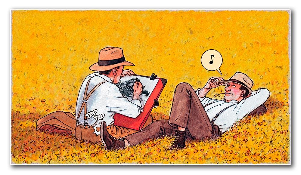 Acuarela de Mies van der Rohe en Italia. Regalo en el cómic MIES de Agustín Ferrer