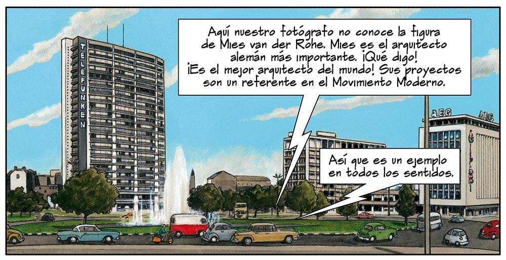 Cómic sobre Mies van der Rohe, padre de la arquitectura moderna, dibujado por Agustín Ferrer Casas