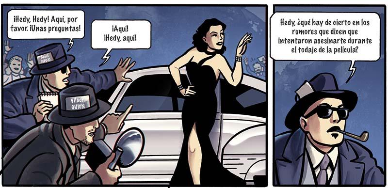 Objetivo Hedy Hamarr, un cómic de espionaje lleno de acción y ciencia. Dibujado por Ángel Muñoz, con guión de Ricardo Bilbor y color de Abel Pajares